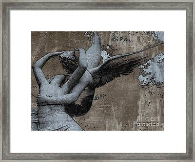 Paris Eros And Psyche - Surreal Romantic Angel Louvre   - Eros And Psyche - Cupid And Psyche Framed Print by Kathy Fornal