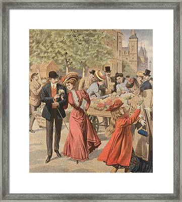 Paris Flower Market  Framed Print by French School