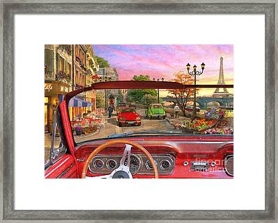 Paris In A Car Framed Print by Dominic Davison