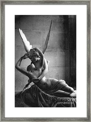 Paris In Love - Eros And Psyche Romantic Lovers - Paris Eros Psyche Louvre Sculpture Black White Art Framed Print by Kathy Fornal