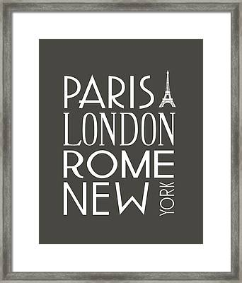 Paris, London, Rome And New York Pillow Framed Print by Jaime Friedman