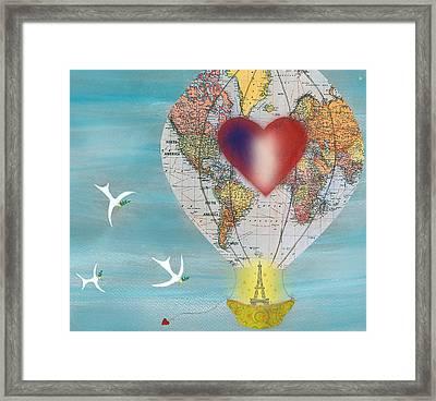 Paris Love Balloon Framed Print by Sukilopi Art