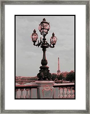 Paris Luminaires And Eiffel Tower Framed Print by Carol Groenen