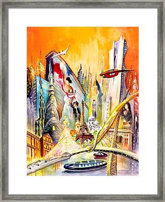 Paris Of Tomorrow Framed Print by Miki De Goodaboom