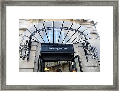 Paris Palais Royal Hotel Door - Paris Art Nouveau Hotel Palais Royal Entrance Architecture Framed Print by Kathy Fornal