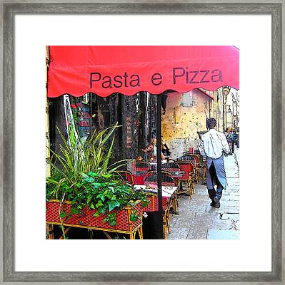 Paris Pasta And Pizza Shop Framed Print by Jan Matson