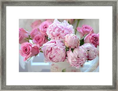 Paris Peonies And Roses Shabby Chic Dreamy Peonies - Romantic Paris Peonies And Roses Floral Art Framed Print by Kathy Fornal