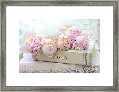 Paris Pink Peonies Romantic Shabby Chic French Market Peonies - Paris Romantic Peonies And Book Art Framed Print by Kathy Fornal