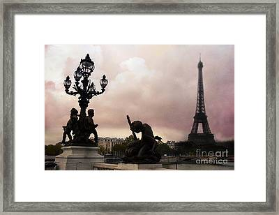 Paris Pont Alexandre IIi Bridge - Dreamy Romantic Paris Bridge With Cherubs Lanterns Eiffel Tower Framed Print by Kathy Fornal