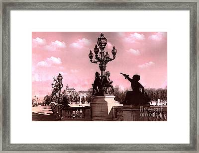Paris Pont Alexandre IIi Bridge - Paris Ornate Bridge With Dreamy Pink Clouds Sky - Paris Bridges Framed Print by Kathy Fornal