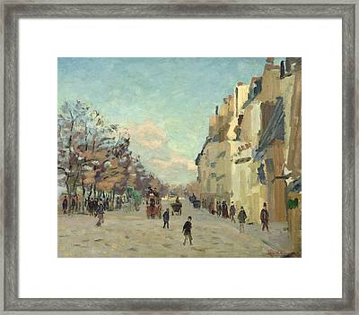 Paris Quai De Bercy Snow Effect Framed Print by Jean Baptiste Armand Guillaumin