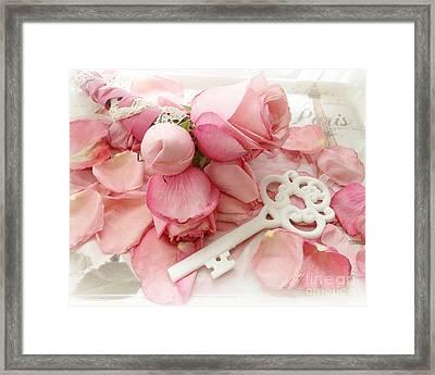 Paris Romantic Dreamy Shabby Chic Pink Roses White Skeleton Key Art  Framed Print by Kathy Fornal