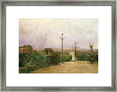 Paris Seen From The Heights Of Montmartre Framed Print by Jean dAlheim