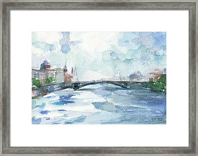Paris Seine Shades Of Blue Framed Print by Beverly Brown Prints