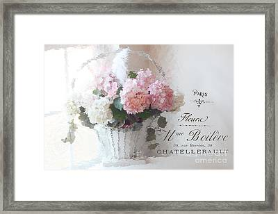 Paris Shabby Chic Romantic Pink White Hydrangeas In Basket - Paris Romantic Basket Of Flowers Framed Print by Kathy Fornal