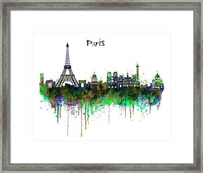 Paris Skyline Watercolor Framed Print by Marian Voicu