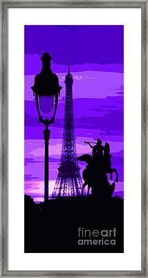 Paris Tour Eiffel Violet Framed Print by Yuriy  Shevchuk