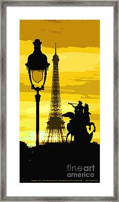 Paris Tour Eiffel Yellow Framed Print by Yuriy  Shevchuk