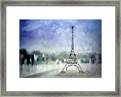 Paris Trocadero And Eiffel Tower Typografie Framed Print by Melanie Viola