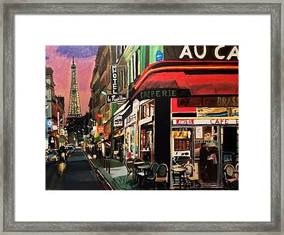 Paris Ville Lumiere Framed Print by Maurice BELLOLO