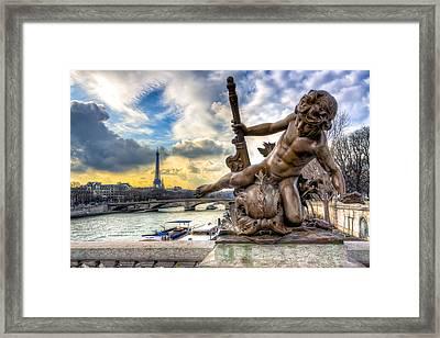 Parisian Cherub On The Pont Alexandre IIi Framed Print by Mark E Tisdale