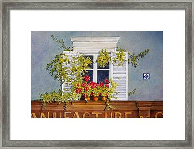 Parisian Window Framed Print by Mary Ellen Mueller Legault