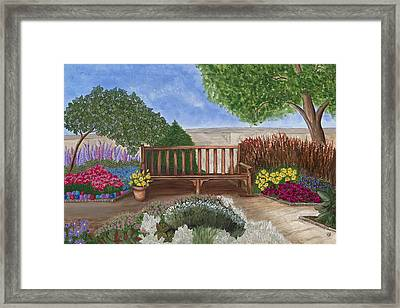 Park Bench In A Garden Framed Print by Patty Vicknair
