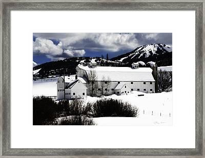 Park City White Barn Framed Print by La Rae  Roberts