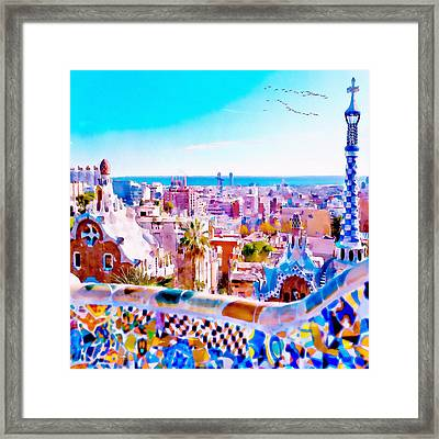 Park Guell Watercolor Painting Framed Print by Marian Voicu