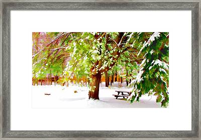 Park In Winter Framed Print by Lanjee Chee