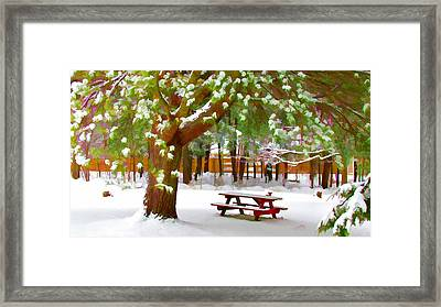 Park In Winter With Snow Framed Print by Lanjee Chee
