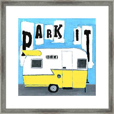 Park It-yellow Framed Print by Debbie Brown