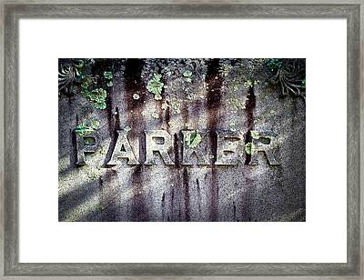 Parker Tombstone - Sleepy Hollow Cemetery Framed Print by Colleen Kammerer