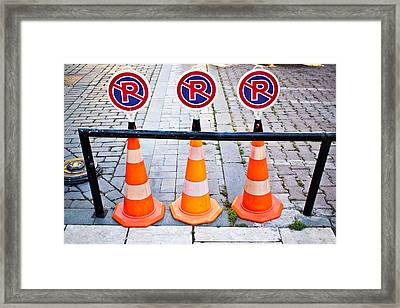 Parking Cones Framed Print by Tom Gowanlock