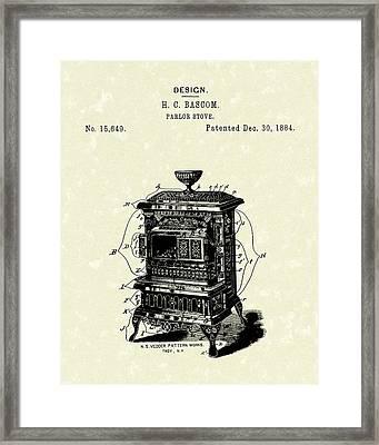 Parlor Stove Bascom 1884 Patent Art Framed Print by Prior Art Design