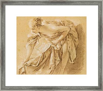 Partially Nude Woman Bathing Framed Print by Francois Boucher