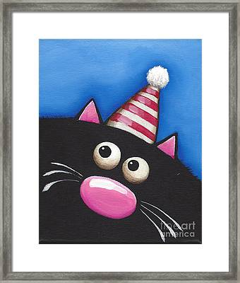 Party Cat In A Red Hat Framed Print by Lucia Stewart
