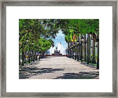 Paseo De La Princesa With The Roots Fountain Framed Print by George Oze