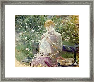 Pasie Sewing In Bougivals Garden Framed Print by Berthe Morisot