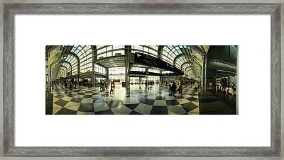 Passengers At An Airport, Ohare Framed Print by Panoramic Images