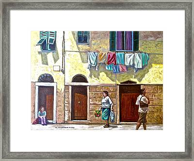Passers By, Cinque Terre Framed Print by Mary Villanueva-Tuomy