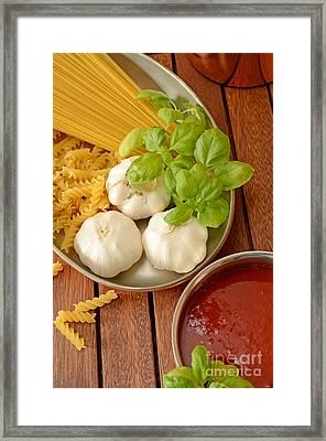 Pasta Ingredients Framed Print by Andreas Berheide