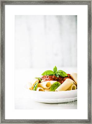 Pasta With Tomato Sauce Framed Print by Mythja Photography