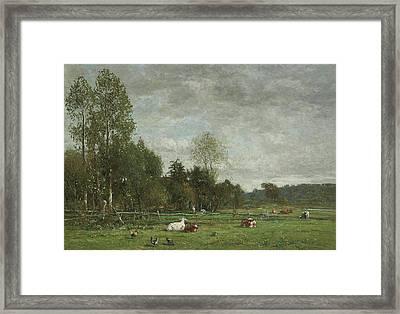 Pasture Near Honfleur Framed Print by Eugene Louis Boudin