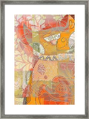 Patchwork Kitty Framed Print by Jacky Gerritsen