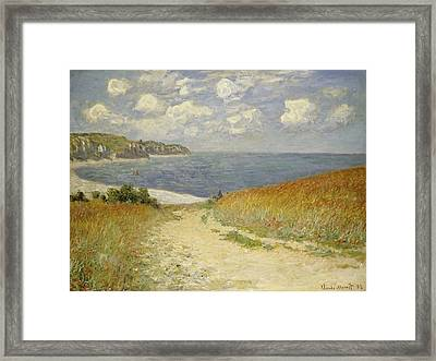 Path In The Wheat At Pourville Framed Print by Claude Monet