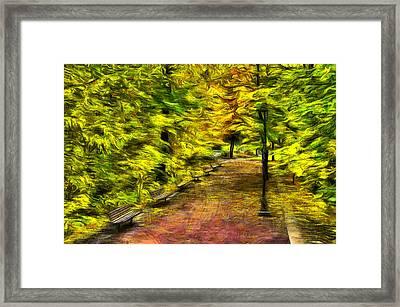 Path Through Fall Framed Print by Mark Kiver