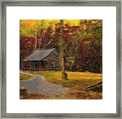 Path To The Fall Cabin Framed Print by Dan Sproul