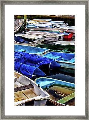 Patiently Waiting Dinghies Framed Print by Karol Livote