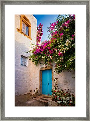 Patmos Bougainvillea Framed Print by Inge Johnsson